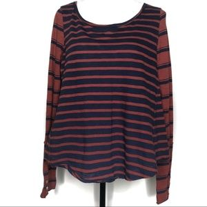 Free People Striped Long Sleeve Top Size XS